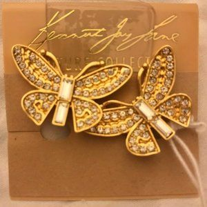 Kenneth Jay Lane Gold Butterfly Clip-On Earrings